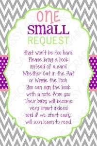 Bring A Book Card - Instead Of A Card One Small Request ...