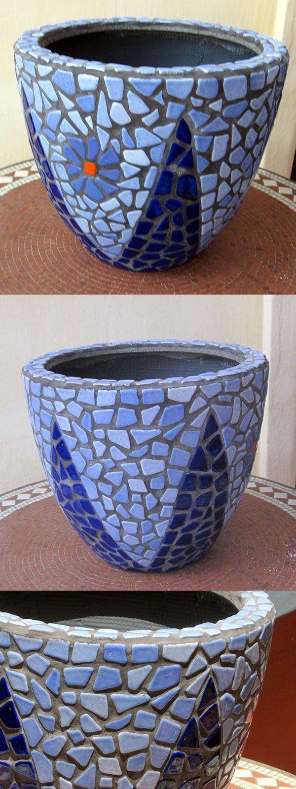 Small tiles for crafts - Small Mosaic Tiles For Crafts Diy Mosaic Blue Flower Pot Mosaik Blumentopf Mosaique Pot De Download