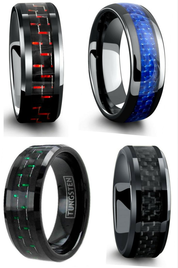 unique mens wedding bands wedding bands Mens wedding rings All have genuine carbon fiber inlays going through the center of the