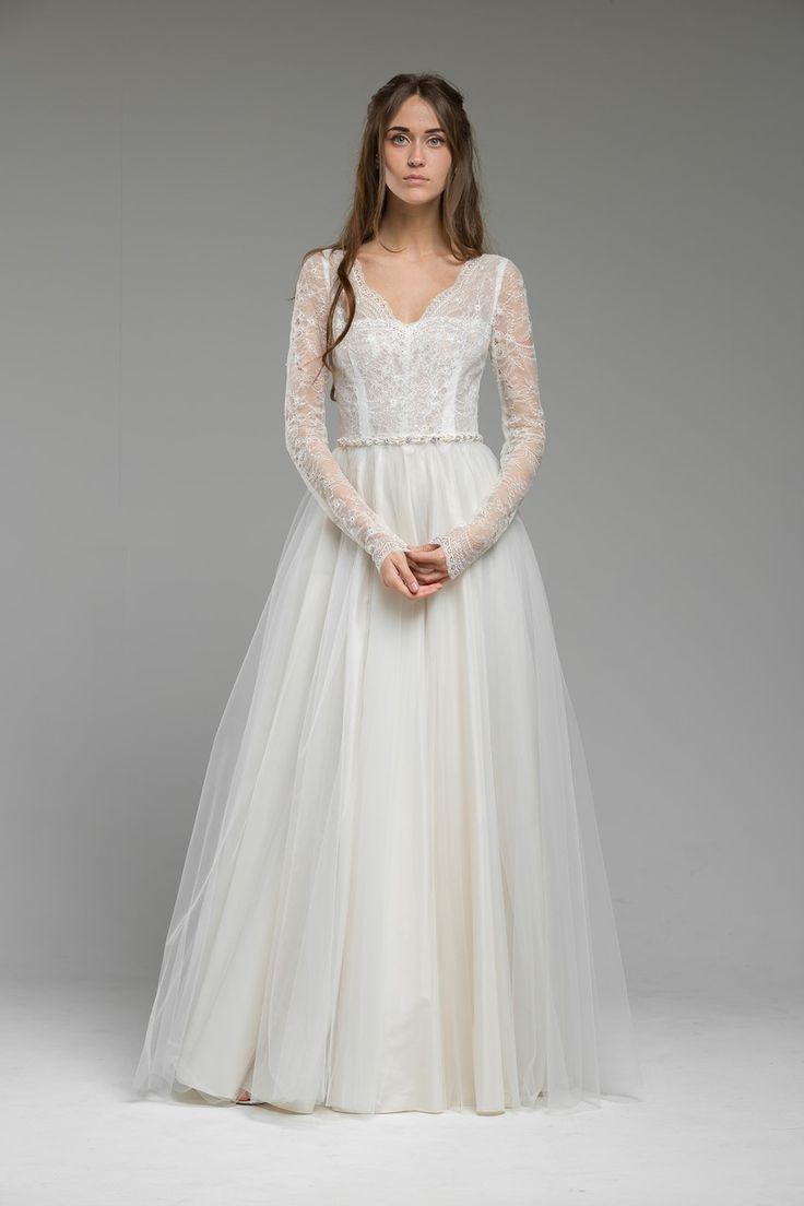 long sleeved wedding dresses long dresses for weddings Long Sleeved Lace Wedding Dress Luna from Katya Katya Shehurina