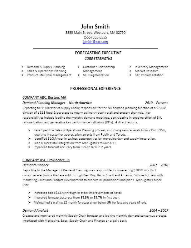 Free Resume Writing Examples The Resume Builder Sample Demand Planning Resume For More Resume Writing Tips