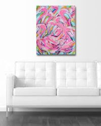 Flamingo Painting, large canvas, wall art, pink flamingos ...