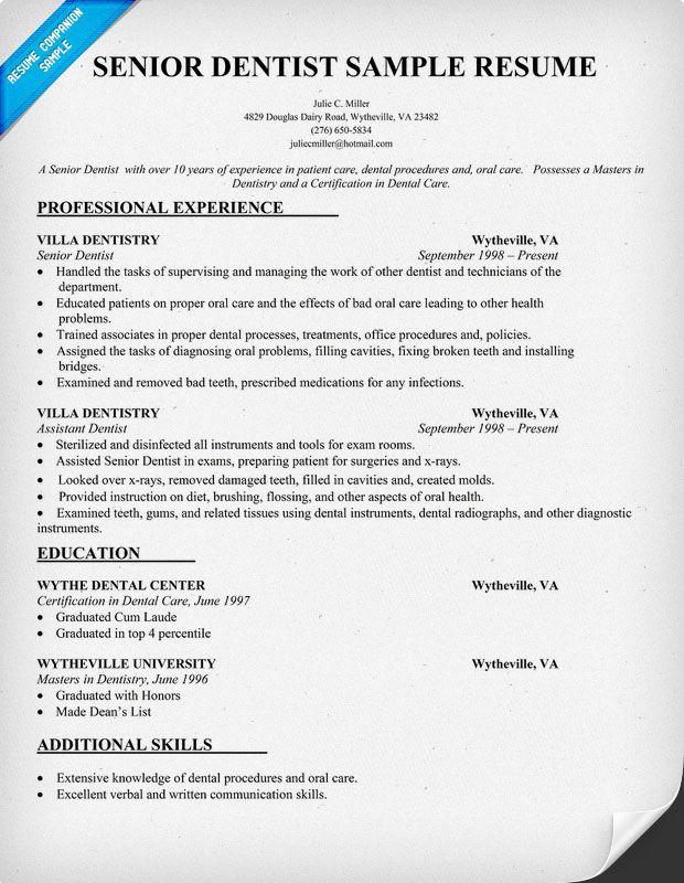 Instructions For Graduate Applicants The Graduate School Senior Dentist Resume Sample Dentist Health