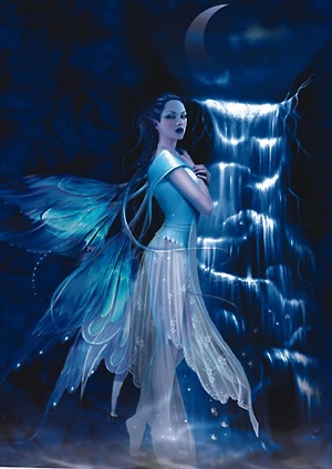 Girl Looking At Moon Wallpaper Blue Faerie Cool Wiccan Stuff Pinterest Blue