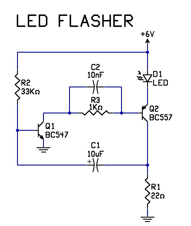 simplest led flasher ic circuit