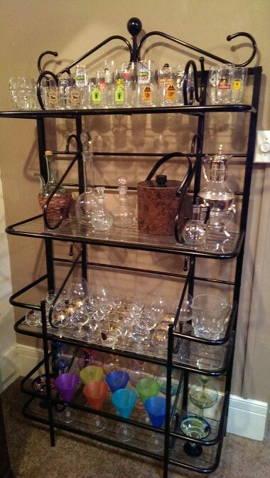 Repurposed Bakers Rack Made A Great Bar Accessory To My