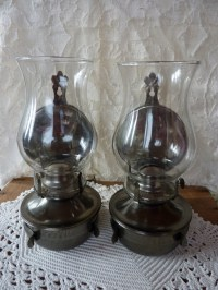 Pair Oil Burning Lamps Pewter Finish | Pewter, Oil and Lamps