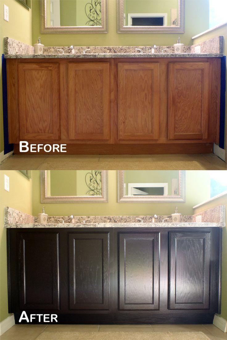 stained cabinets gel stain kitchen cabinets Java Gel Stain Amazing Transformation Oak BathroomBathroom CabinetsKitchen