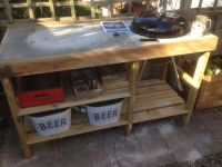Handmade bbq table with weber kettle barbeque | Tuin ...
