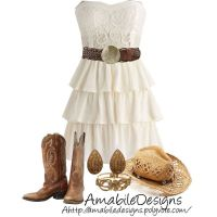 Country Chic Want a white dress and boots like this ...
