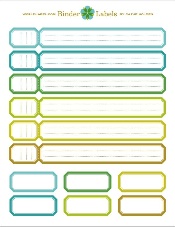 templates for binders covers and spines