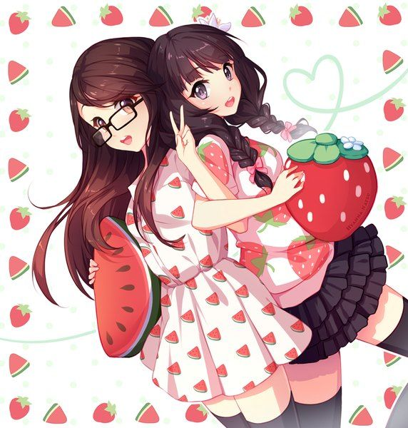 Watermelon Wallpaper Cute One Anime Picture 858x900 With Original Hyanna Natsu Long Hair