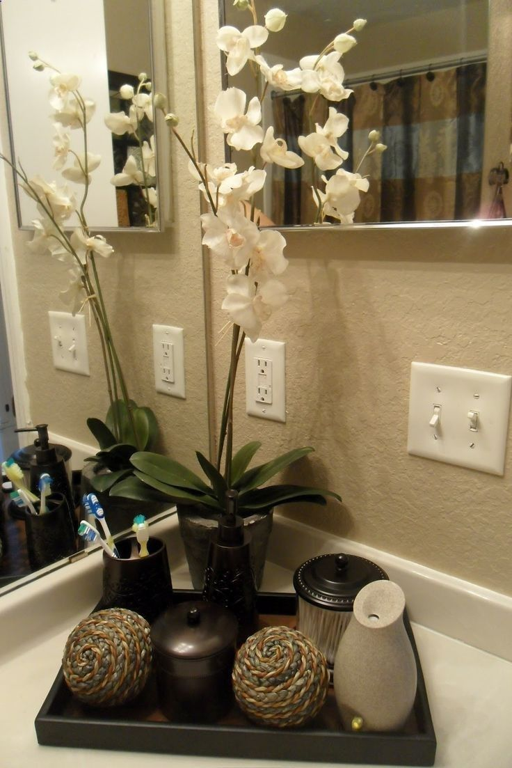 Bamboo plant instead and jars for guests on the bathroom counter