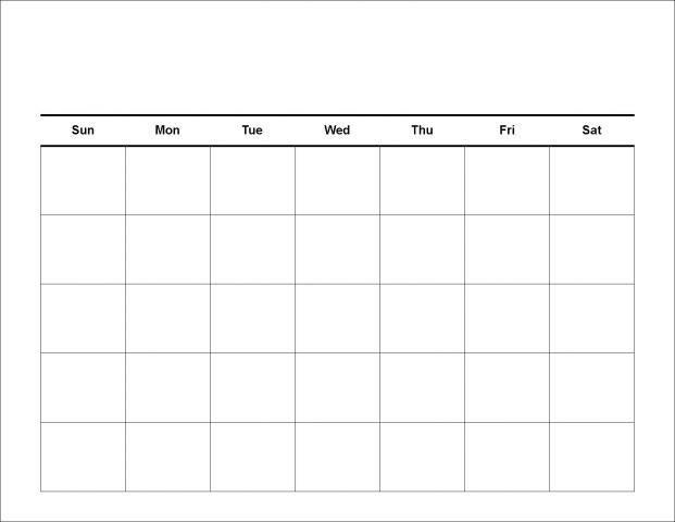 free blank monthly calendars 2015