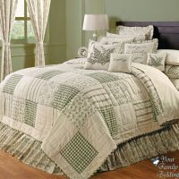 Country Green Ivory Floral Patchwork Twin Queen Cal King ...
