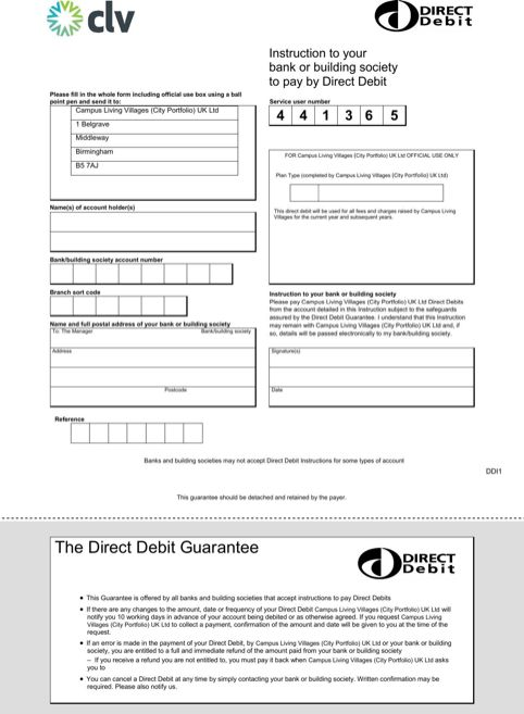 direct debit form – Direct Debit Form