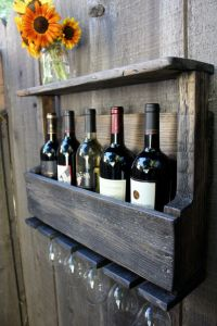 Reclaimed Wood Rustic Wine Rack Glass Holder with Shelf in