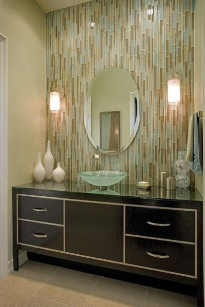 17 Best images about Tile work behind bathroom mirror on Pinterest   The mirror, Vanities and Tile