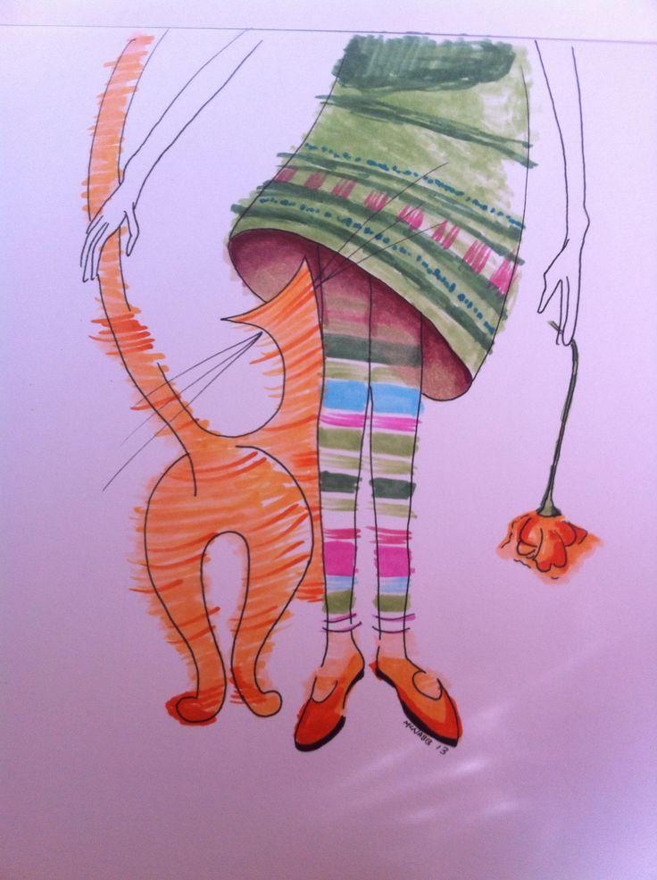 Cute Cartoon Birds Wallpapers Colorful Cartoon Whimsical Cat Drawing Rubbing Leg A Cat