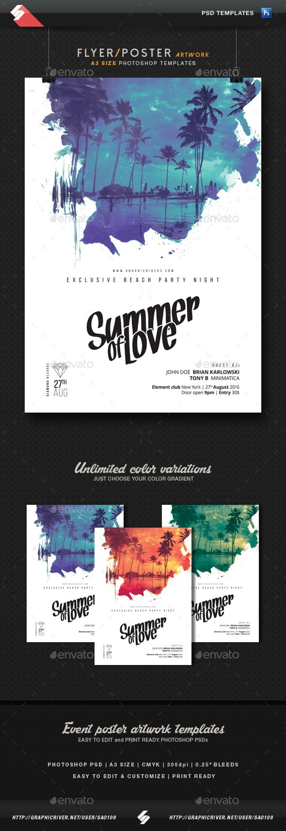 Poster 60 x 80 design - Poster 60 X 80 Design Psd Summer Of Love Party Flyer Poster Template A3 Only Download