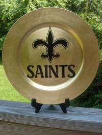 New Orleans Saints decorative plate fleur de lis