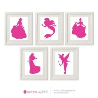 Customizable Disney Princess Silhouette Wall art, Disney