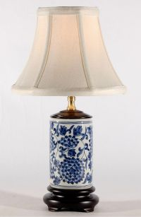 Small Blue White Traditional Cylindrical Porcelain Lamp ...
