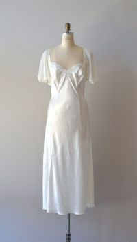 Vintage white chiffon peignoir set / 1970s nightgown and ...
