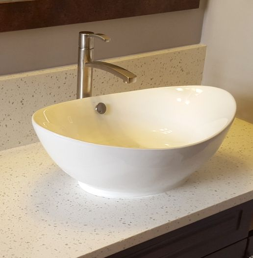 Bv105 White Scoop Top Oval Vessel Sink Mounted On Iced