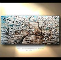 COMMISSION 24x48 White Gold Brown Blue Flower Abstract ...