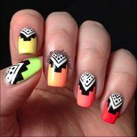 Simple tribal nail art. Summer neons colors. Nail art ...