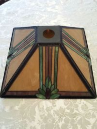 STAINED GLASS LAMP SHADE MISSION STYLE ANTIQUE | Stain ...