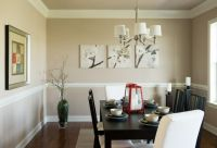 Formal dining room with crown molding and chair rail ...