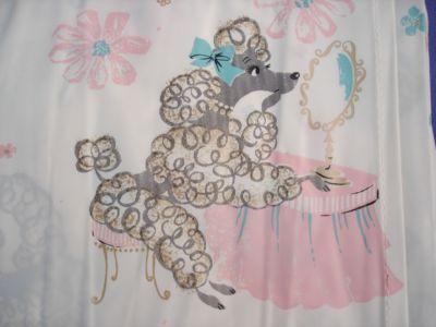 Paris Wallpaper Cute Blue Adorable Vtg 50s Retro Plastic Shower Curtain Poodles