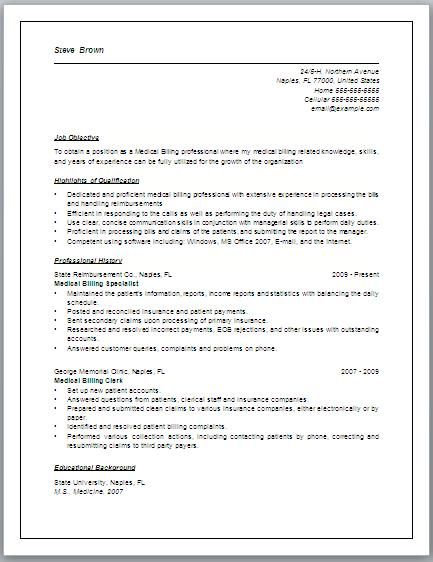 sample of interview medical coding and billing resume