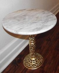 Vintage Round Marble Top Table with Ornate Brass Pedestal ...