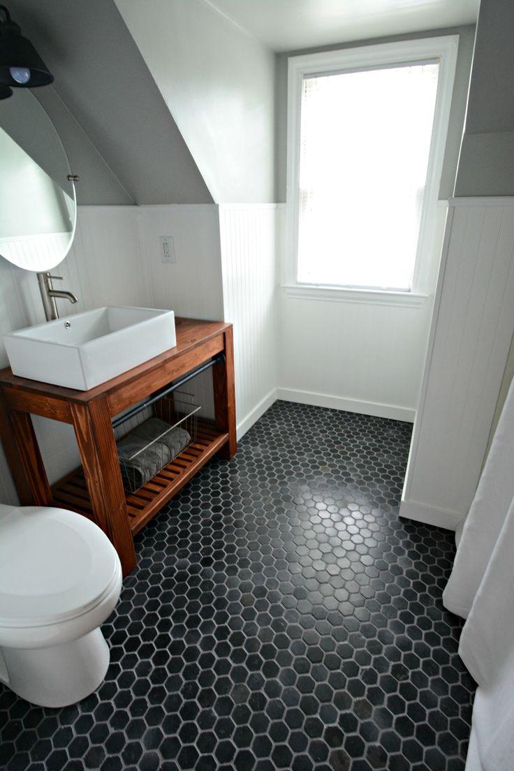 Small bath remodel part dos hexagon floor tilehex tiletile floorbathroom