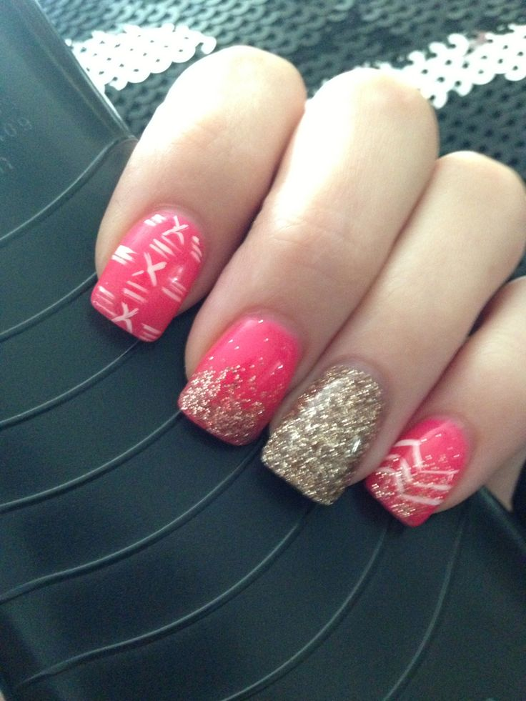 My Hot Pink Gold Glitter Nails Gold Glitter Gel Hot Pink