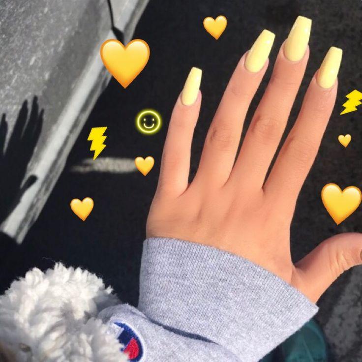 Yellow Acrylic Nails Pepe