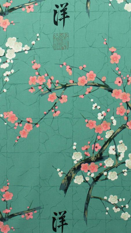 japanese garden cherry blossom paintings japanese asian fabric cherry blossom branches teal color download