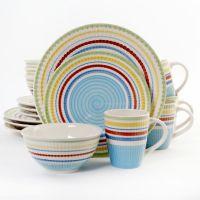 Gibson Home Festive Stripes 16-Piece Dinnerware Set, Blue ...