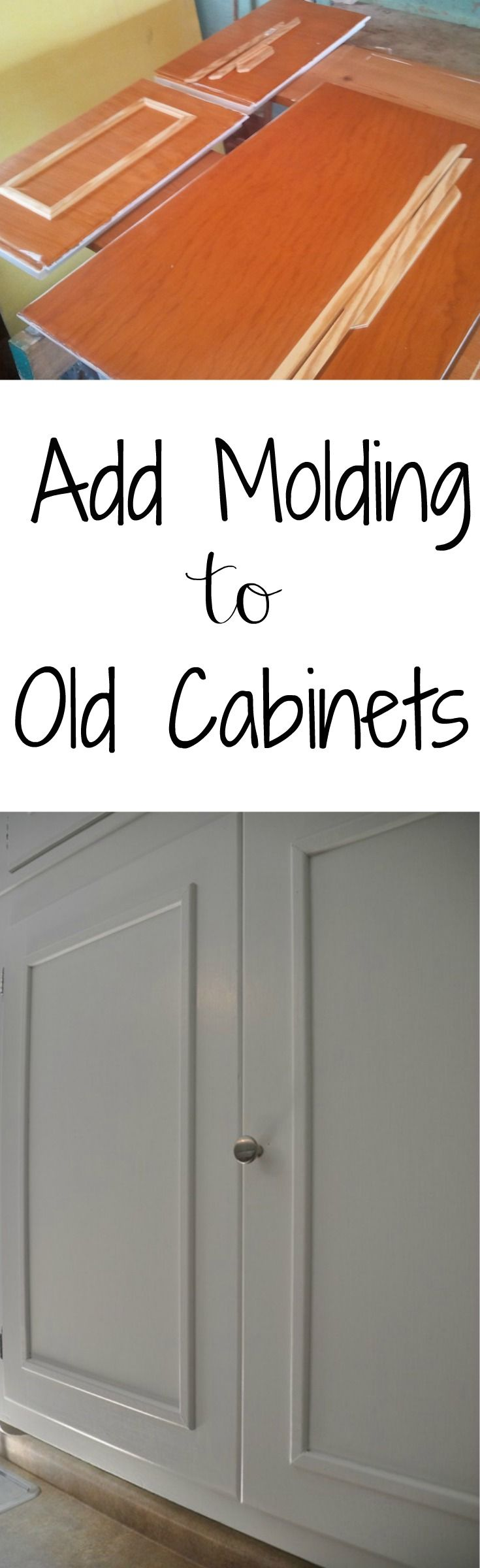 cabinet door makeover kitchen cabinet updates Add Molding to Old Cabinets Great way to update those old and boring cabinets