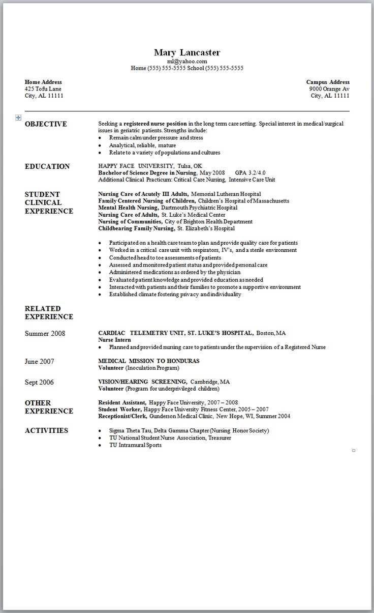 example of student rn resume