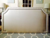 King Curved Corner Upholstered headboard, WHEAT linen, Lrg