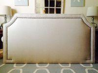 King Curved Corner Upholstered headboard, WHEAT linen, Lrg ...