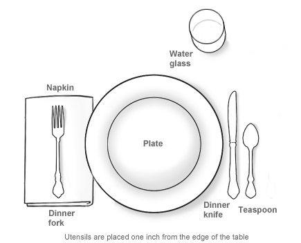 casual table setting diagram