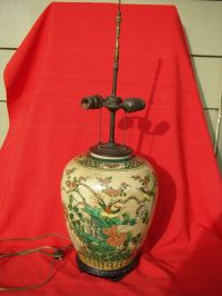 Antique asian (chinese, japanese) porcelain table lamp ...