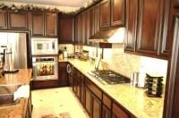 brown mahogany with mocha glaze cabinets with new venetian ...