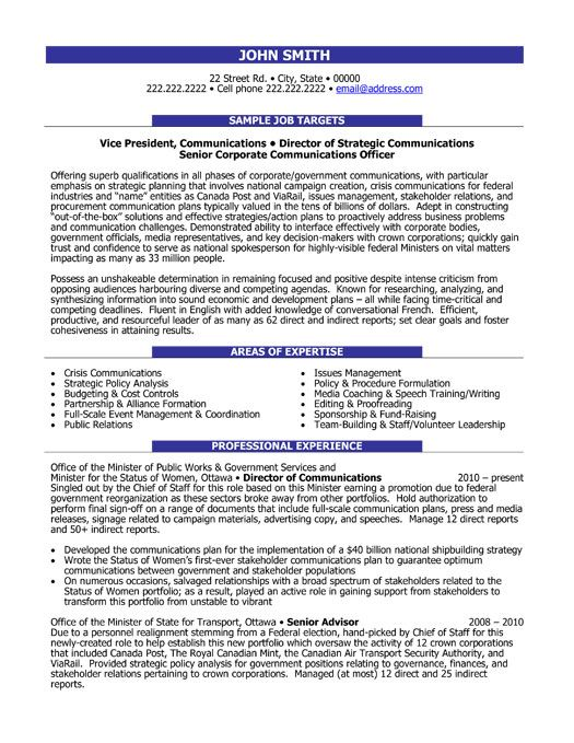 director communications resume samples