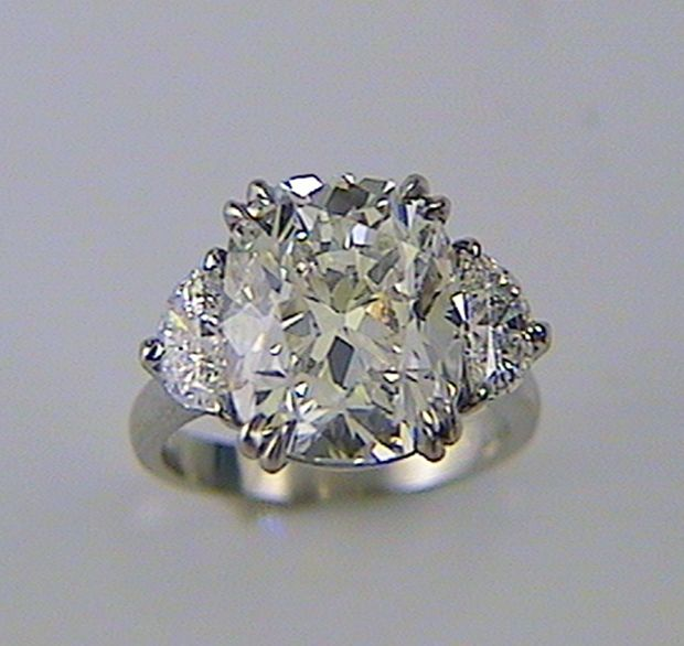 Cushion Cut Diamond Engagement Ring With Half Moon Sides